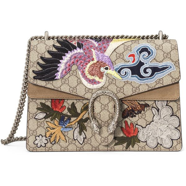 Gucci Dionysus Medium Bird Embroidered Shoulder Bag found on Polyvore featuring bags, handbags, shoulder bags, multi, bird purse, shoulder bag purse, pocket purse, gucci handbags and chain strap purse