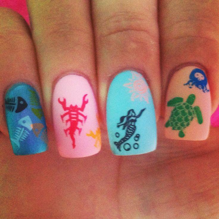 Sea Turtle Nail Art: Nail Stamping, Nail Art, Nail Designs, Nail Ideas