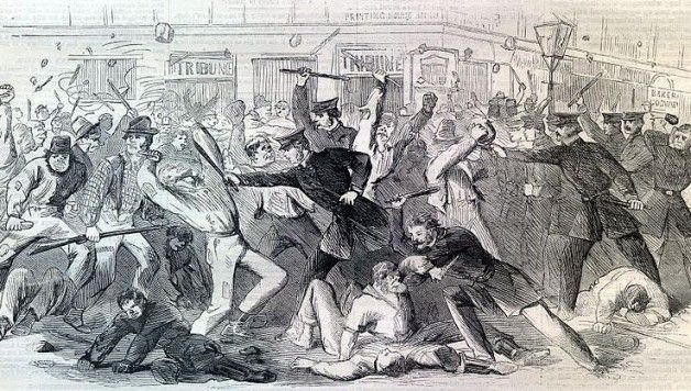 On July 13th, 1863 mobs angered by the new draft rioted in NYC, burning buildings and looting stores. A large portion of the rioters were Irish laborers who thought they were being drafted to free slaves who, once emancipated, would take over their jobs.  Over the three days of the riot, over a hundred civilians were killed, at least eleven of which were black men who were lynched. With thousands injured, the draft riots of 1863 remain the largest civil insurrection in American history.