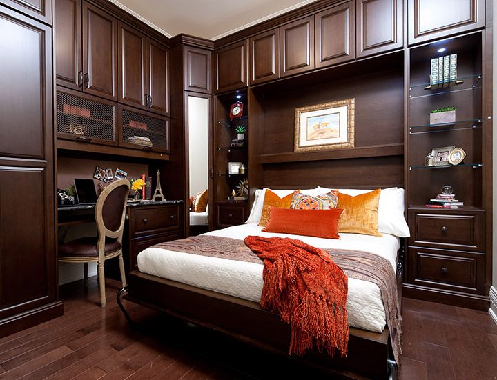 Wall bed unit LOVE this dark wood room