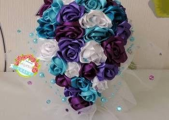 Bukiet ślubny kaskadowy ze wstążek rękodzieło ślub róże róży