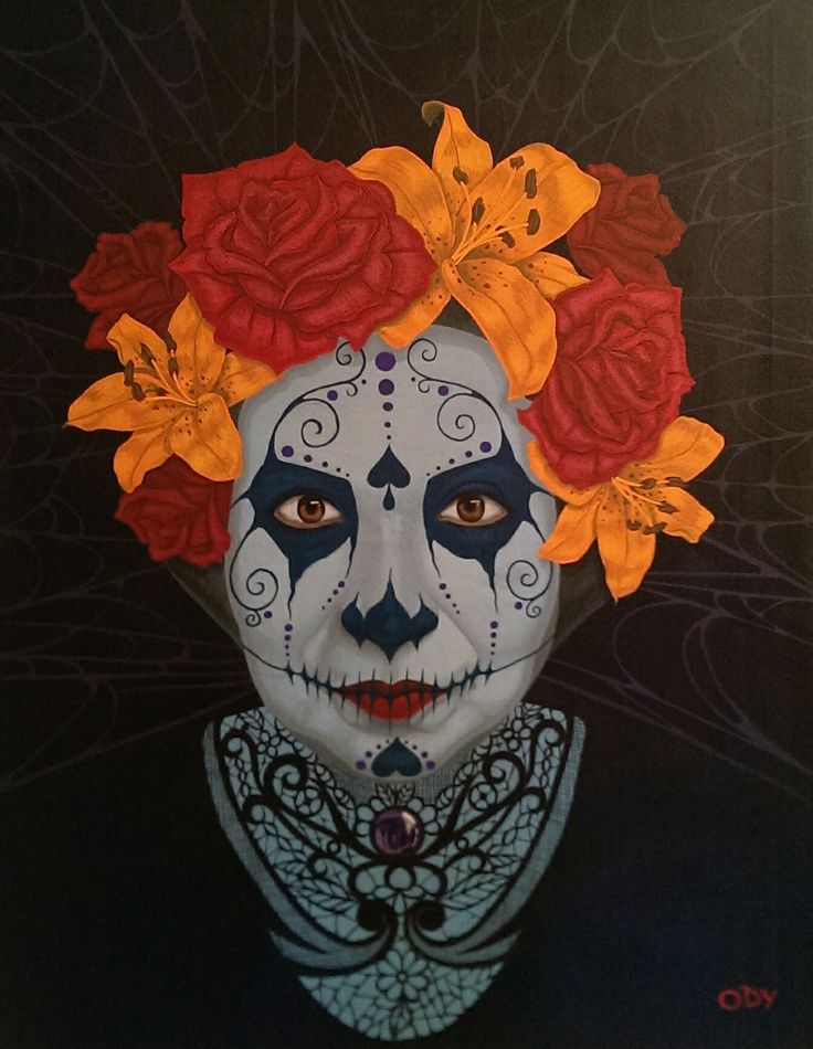 Sugar skull portrait of my mother