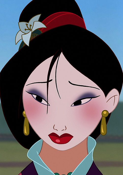 Mulan. Do not get me started on Mulan, I love her. She is my favorite Disney Princess because she is badass. She don't take none from anyone, she doesn't conform to the type of woman an entire COUNTRY thinks she should be. Then she SAVES that country. And gets the man in the end.