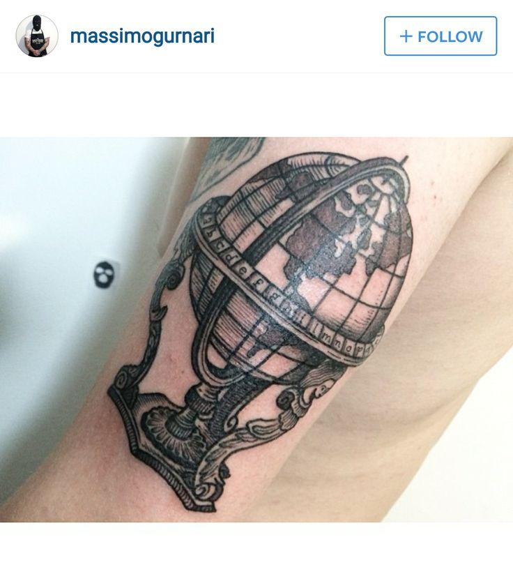 Traditional World Globe Tattoo