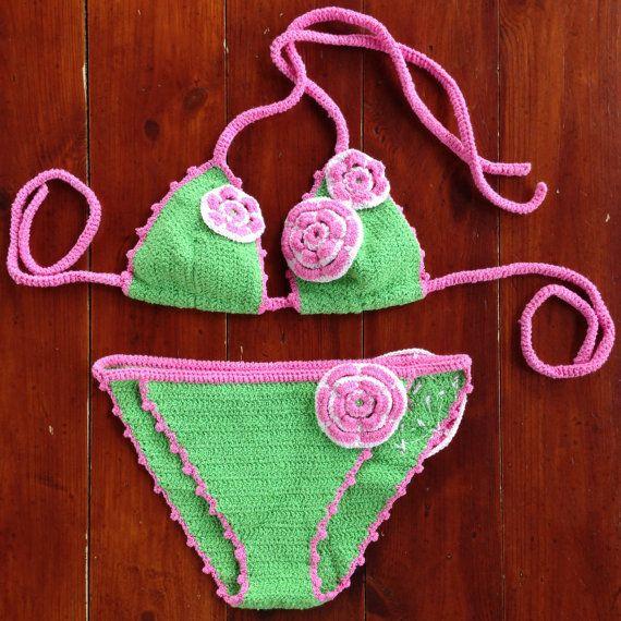 Crochet bikini Flower от ruscrew на Etsy