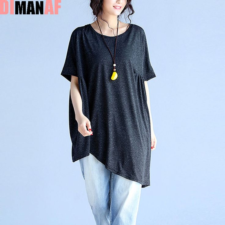 DIMANAF Women T-Shirt  Plus Size Summer Linen Solid Batwing Female Fashion Loose Large Size Elegant Tops&Tees Black Grey Blue
