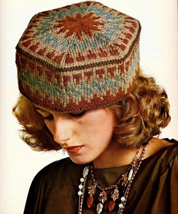 Elegant, boho, multi-ethnic style knitted pillbox hat uses Fair Isle (or Jacquard) chart to form its hexagonal shape. A little amateur millinery
