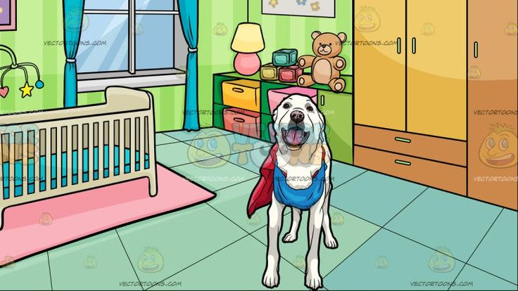 A Happy Looking Dog Wearing A Costume With A Bedroom Of A Baby Background:   A dog with white fur looks ahead while wearing a red cape and blue outfit costume and A room with striped green wallpapers blue green floor pink carpet with a beige crib and satellite teal curtains light brown closet with colored shelves paintings and frames lamps and a stuffed teddy bear