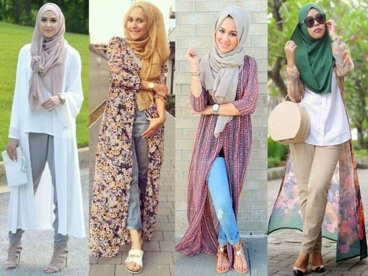 long kimono cardigan hijab style, Hijab outfits in pastel colors…