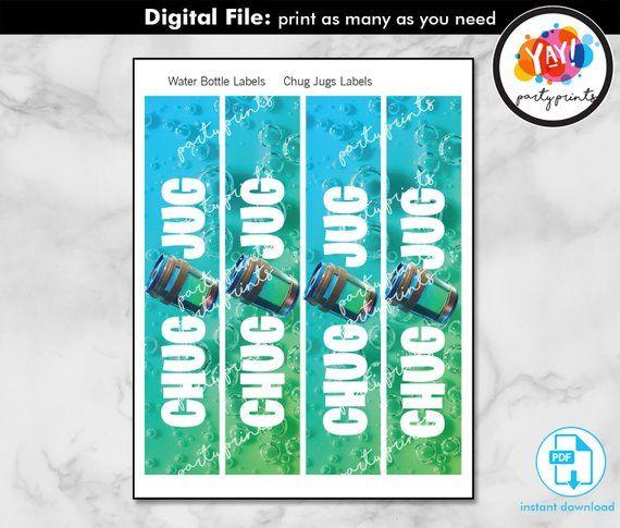 Chug Jug Label Printable Digital Instant Download Pdf File Gatorade Bottle Labels For Fortnit Printable Labels Birthday Party Printables Free Printing Labels