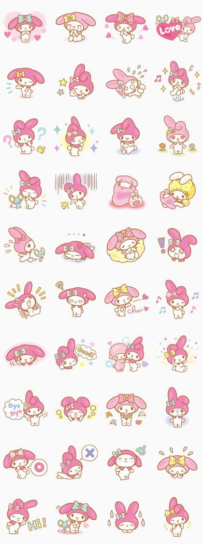 My Melody llega llena de ternura con estos novísimos stickers☆ Encantada de ser tu amiga en LINE♪ Deja que llene tu vida de alegría♪
