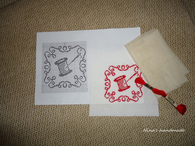 pattern #2/ cross stitch redwork on wasted canvas