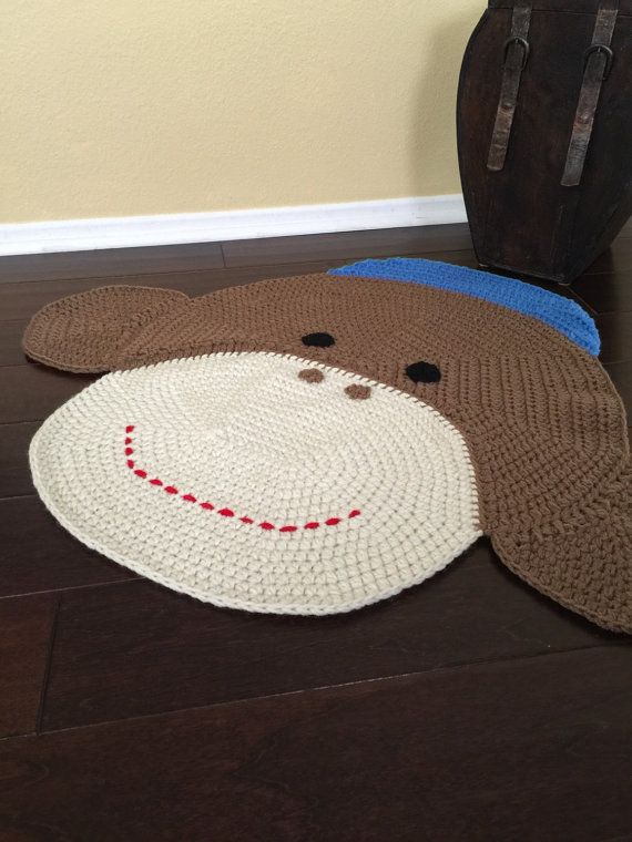 Crochet Sock Monkey Rug by PeanutButterDynamite on Etsy