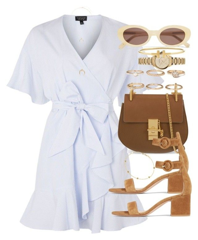 """""""Sin título #4369"""" by hellomissapple on Polyvore featuring moda, Topshop, Chloé, Gianvito Rossi, Forever 21, Luis Miguel Howard, Burberry, CO y Elizabeth and James"""