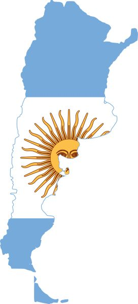 This is a flag in the shape of the Argentina. In the middle there is a gold sun god! The outsides are light blue lines! It looked cool!