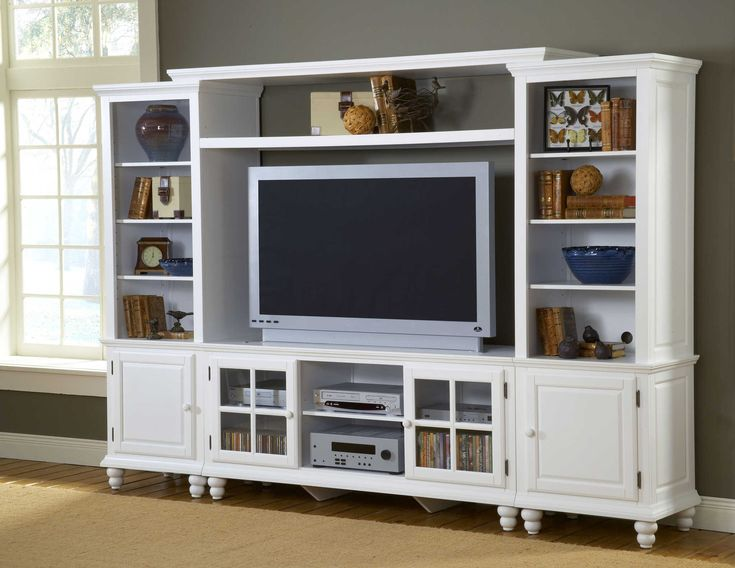 Entertainment Wall Unit, White Finish