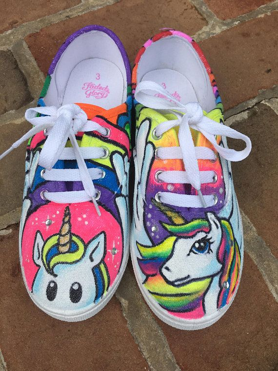 d645932c7baf Rainbow Unicorn Shoes!! Custom painted sneakers. Made to order.  30 for the