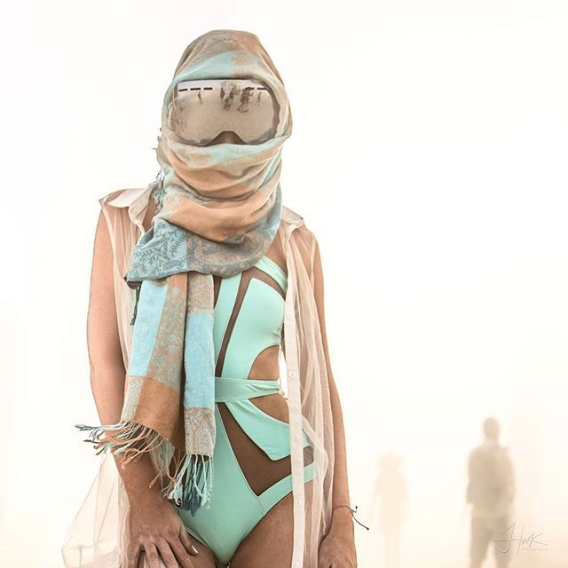 Burners don't have a specific style. It doesn't matter what you wear, as long as you are comfortable haha. From gym shorts to swim suits, tuxedos to fur coats. Where anything, everything, even nothing. Just be prepared with goggles and a face mask. Burning Man is about having as much an emotional and personal experience as it is a creative and social experience. Part 1 of 2, models full photo in my gallery #burnerforlife #burningman #burningman2016 #bm #burners #burner #burnernewyear #burn…