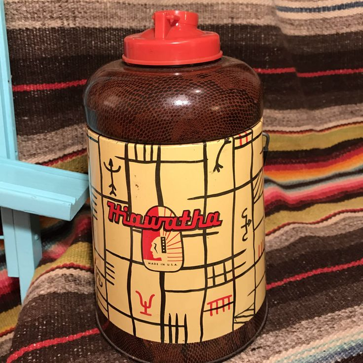 Vintage 1950's Hiawatha Camp Drink Cooler / Vintage Thermos / Retro Cooler / Cool Rockabilly Cooler / Vintage Camping / Vintage Home Decor by SaintGemmaVintage on Etsy https://www.etsy.com/listing/503969050/vintage-1950s-hiawatha-camp-drink-cooler