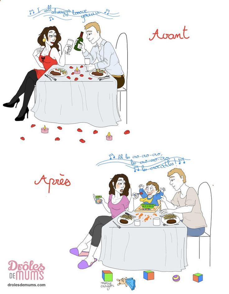 Joyeuse Saint Valentin les parents ! Ah, l'Amour ! Au début, on est deux, on le fête, on le célèbre… toutes les occasions sont bonnes, et la Saint Valentin est une sorte d'apothéose ! Et puis, un jour… on est plus de 2 pour la fêter, et là… Et si tu veux voir toutes les illustrations de Marie Crayon, c'est par ici : drolesdemums.com/...