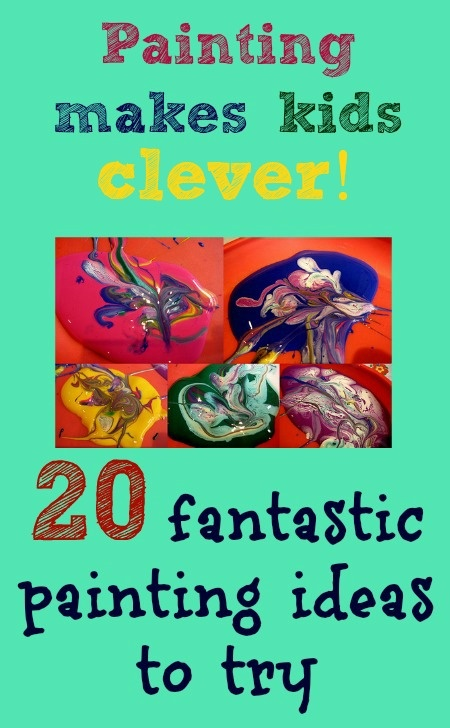 A recent report says painting can make kids clever, improve academic success and give better behavior. 20 fabulous ideas here for different twists on kids painting, encouraging creativity, maths, science....