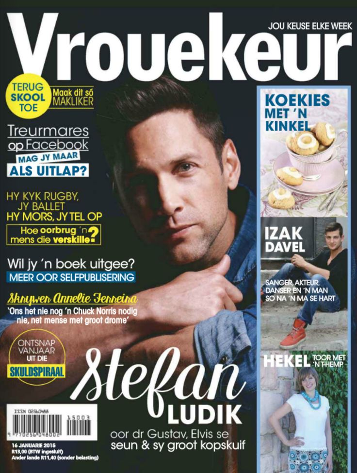 The weekly Vrouekeur cover featuring our heart throb Stefan Ludik (16 January 2015).