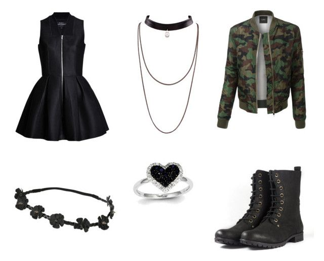 """💀black💀"" by livbeckett ❤ liked on Polyvore featuring LE3NO and Kevin Jewelers"