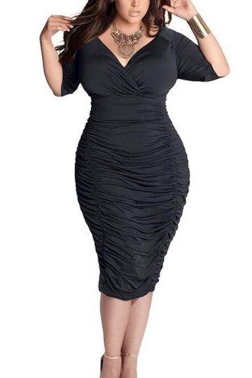 Black Plus Size Wrap Front Drape Midi Dress - US$19.95 -YOINS