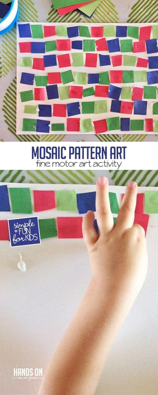 Super Simple Fine Motor Mosaic Pattern Art Activity For Kids Hoawg Art Activities For Kids Fine Motor Activities For Kids Art Activities For Toddlers [ 1600 x 640 Pixel ]