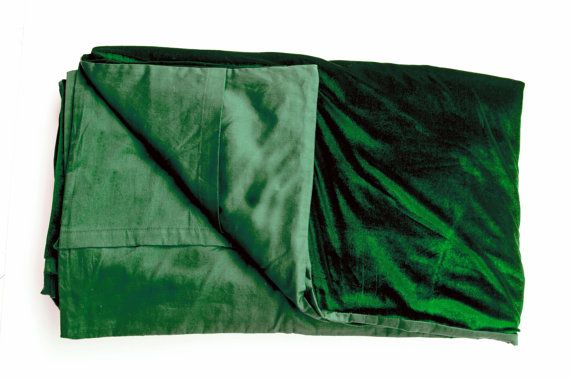 Luxury bedspread in dark green velvet Couture bed by AmoreBeaute