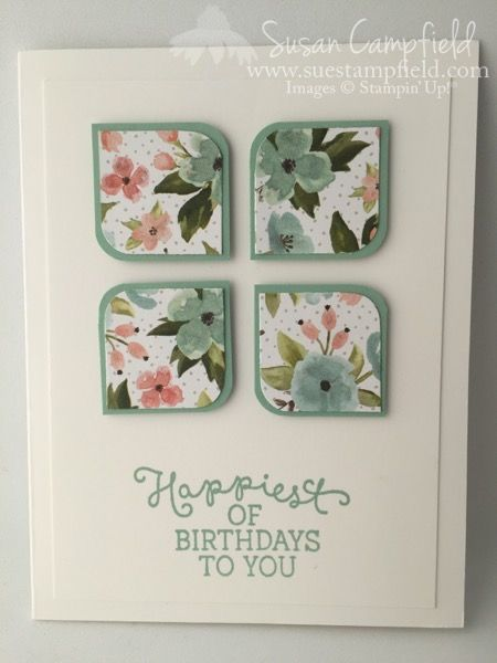 handmade card: Birthday Bouquet Corner Round Card from Suestampfield ... clean and simple ... four square of four matted squares ... good way to use small scraps of patterned paper ...
