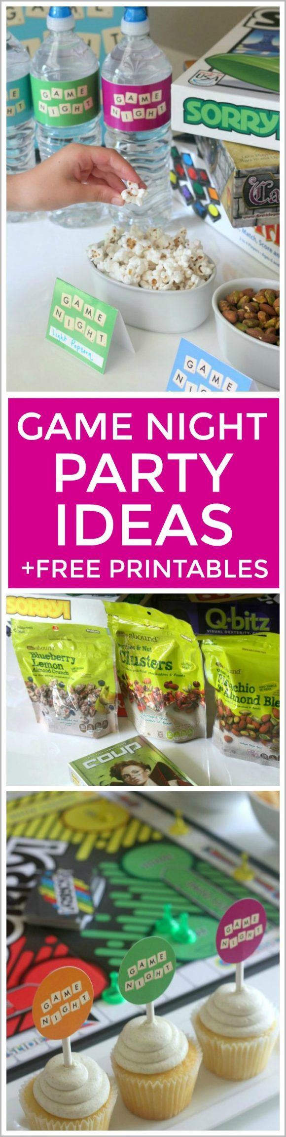 How To Throw A Game Night Party for your friends or family. Works great as a kids party or adult party. Plus we have a whole set of free game night printables to use to decorate! | CatchMyParty.com