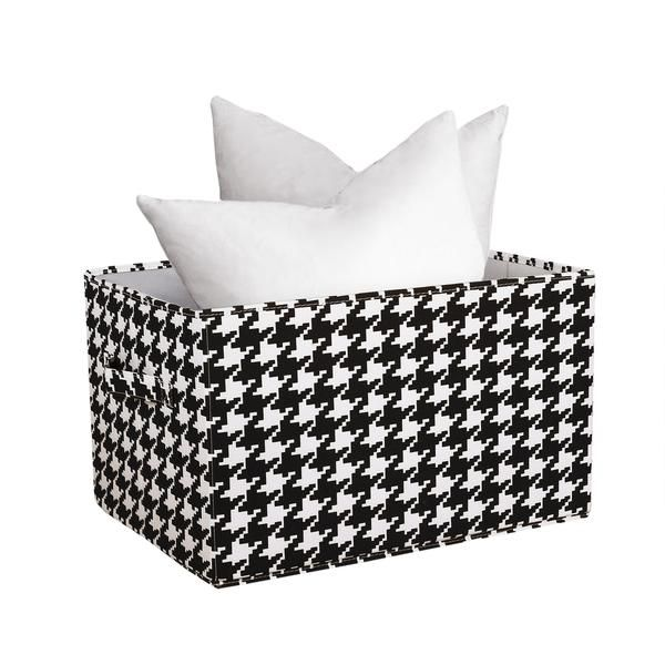Houndstooth Fabric Covered Collapsible Box 3-Piece Set