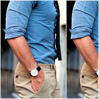Camicia in chambray, pantaloni khaki e orologio classico: dettagli di stile che fanno la differenza. Chambray shirt, khaki pants and a classic watch: style details that can make all the difference.