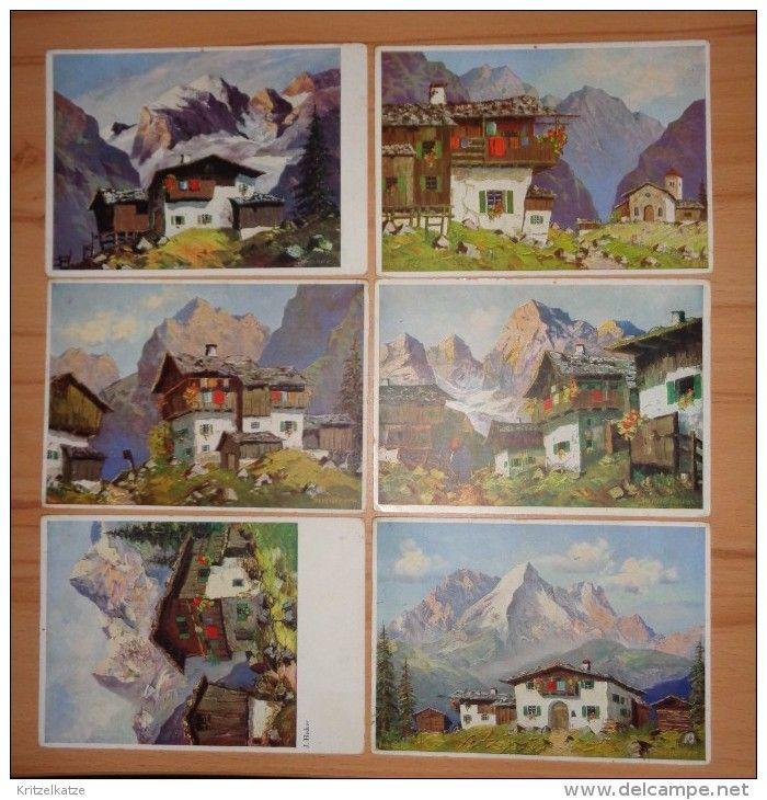 6 AK Berghütten / Bauernhäuser / Kirchdorf  ~ ( Tirol )
