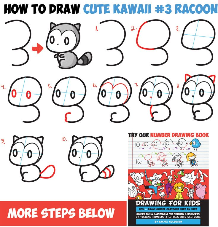 How to Draw Cute Chibi / Kawaii Characters with Number 3