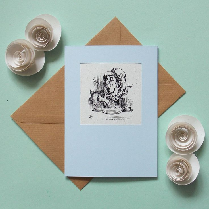 Alice in Wonderland card, hand made blank greeting card, Mad Hatter card, boyfriend, brother, mum, girlfriend, recycled paper card envelope