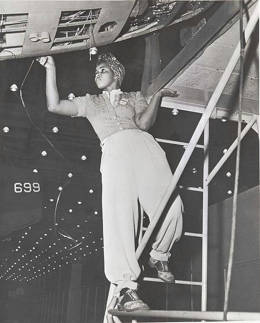 Amanda Smith, an African-American woman employed in the Long Beach Plant of the Douglas Aircraft Company.  Between 1940 and 1944, approximately one million civilian African Americans entered the labor force; 600,000 of them were female. The proportion of black women in industrial occupations almost tripled during the war, rising from 6.5 to 18 percent. Los Angeles-area aircraft plants were among the first to offer them employment.