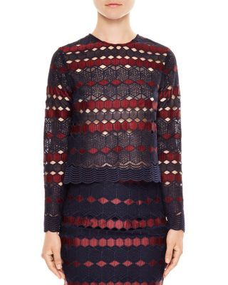 Sandro Union Embroidered Lace Top | Bloomingdale's