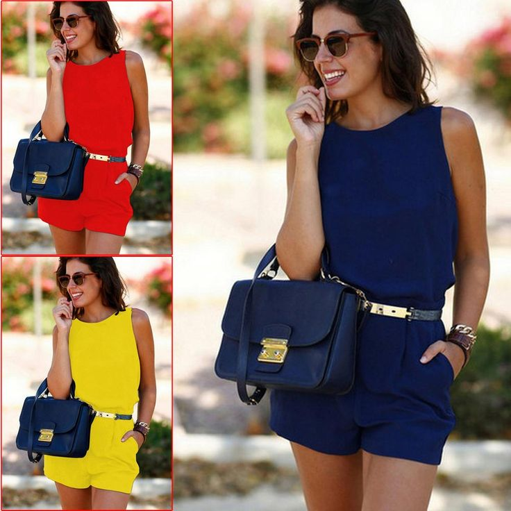 2017 Summer Sexy Womens Slim Sleeveless Backless Jumpsuit Romper Playsuit Short Yellow/Red/Blue High Quality