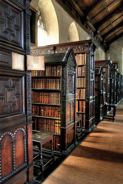 Ancient, St. Johns College Library, Cambridge, England  [per previous pinner]