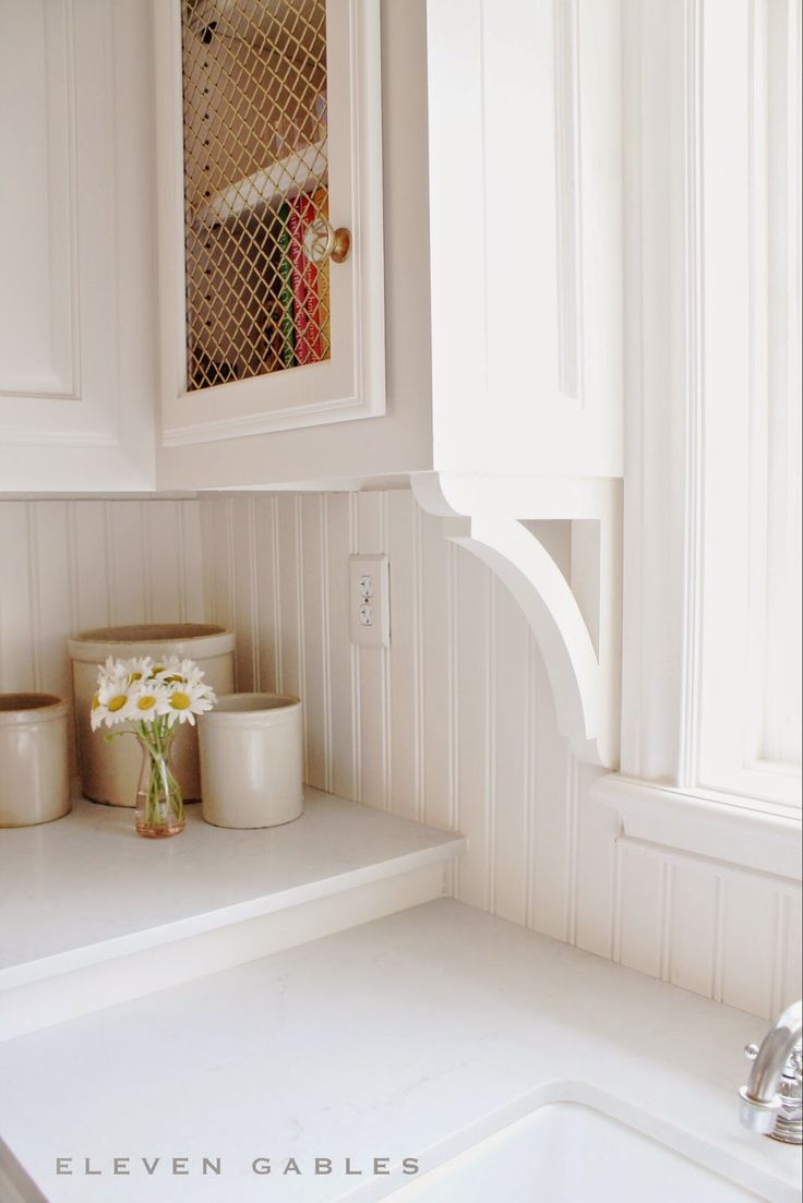 Eleven Gables Butler's Pantry London Grey Caesarstone, wood corbels, tongue and groove beadboard