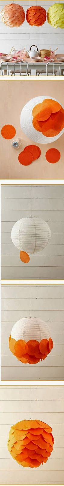 Upgrade a paper lantern with circles of coloured paper or cloth | My DIY Projects