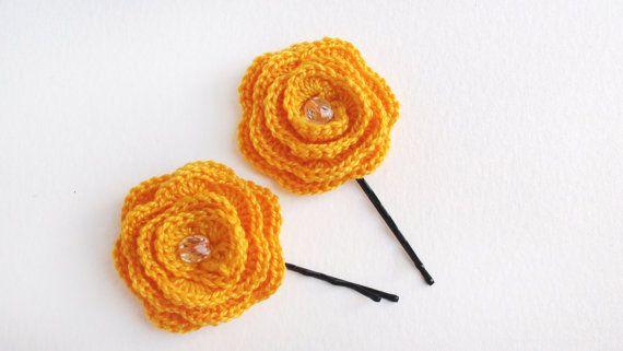 Hair pin Set of 2 crochet Yellow hair pins hair от HelenKurtidu, €5.00