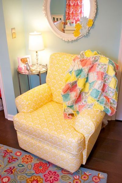 This sunny #yellow #armchair stands out in a bright, whimsical #nursery.