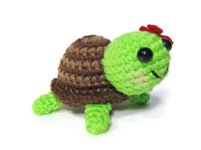 Crochet Turtle - Amigurumi Turtle - Kawaii Turtle - Mini Turtle - Turtle Toy - Turtle Plushie - Turtle Stuffed Animal -Tortoise - Gift Ideas - pinned by pin4etsy.com