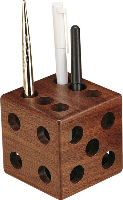 Wooden dice pen pencil holder woodworkers dream Cool pencil holder ideas