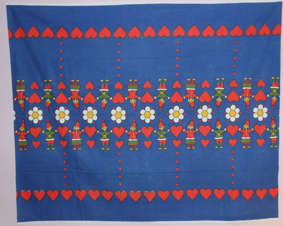 Nice Christmas vintage retro Tablecloth with santas, hearts and scandi flowers. Made in Sweden.  Really good vintage condition. Some nubs like
