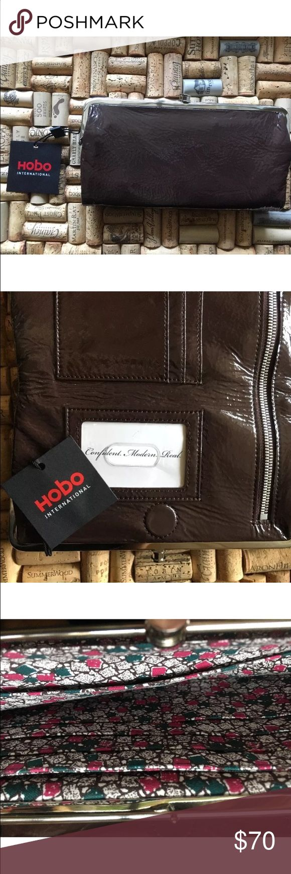 HOBO International Leather Double frame clutch Patent, soft leather. Double frame clutch NWT HOBO Bags Clutches & Wristlets