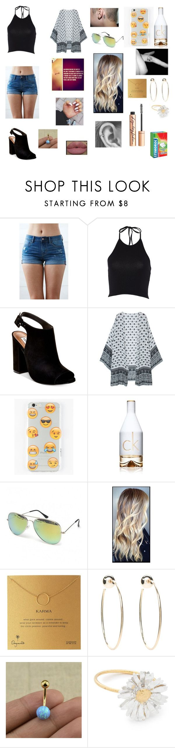 Untitled #224 by katrine-frid on Polyvore featuring Bullhead Denim Co., Steve Madden, Bebe, Dogeared, Alex Monroe, Ankit, Charlotte Tilbury and Calvin Klein